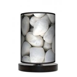 Biały kamień lampa stołowa drewniana mała Fotolampy