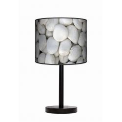 Biały kamień lampa stołowa drewniana duża Fotolampy
