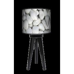 Biały kamień lampa trójnóg drewniana mała Fotolampy