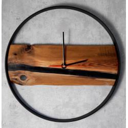Zegar drewniany z żywicą epoksydową Retro Drewno