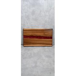 Deska z orzecha włoskiego do serwowania z żywicą Retro Drewno