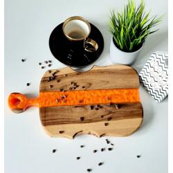Deska do serwowania z żywicą pomarańczowa Retro Drewno
