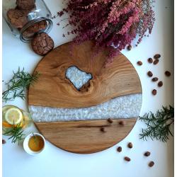 Deska do serwowania okrągła dębowa z żywicą Retro Drewno