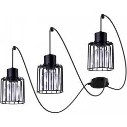 Luto Kwadrat lampa wisząca 3 czarna